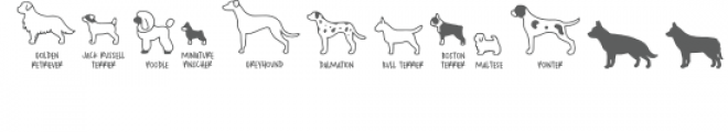 dog breeds dingbats Font LOWERCASE