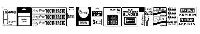 Drug Store Items JL Font UPPERCASE