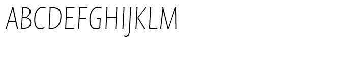 FF Quadraat Sans Condensed Thin Italic Font UPPERCASE