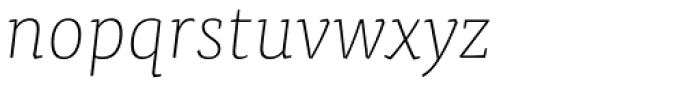 FF Tisa Pro Thin Italic Font LOWERCASE
