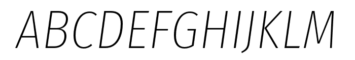 Fira Sans Condensed UltraLight Italic Font UPPERCASE