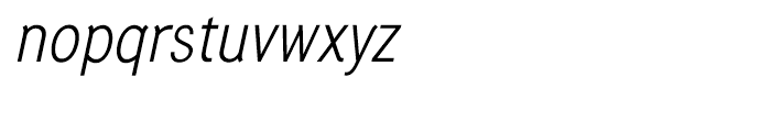Generation Gothic Condensed Light Italic Font LOWERCASE