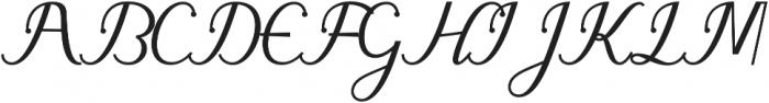 gloretha script Regular otf (400) Font UPPERCASE