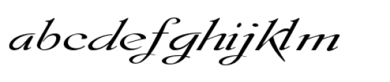 Gladly Oblique Wide Font LOWERCASE