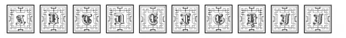 Gotische Frame Outline Font UPPERCASE