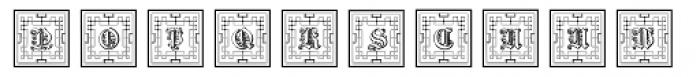 Gotische Frame Outline Font LOWERCASE