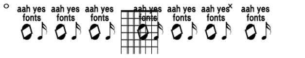 Guitar Chords Closed Font UPPERCASE