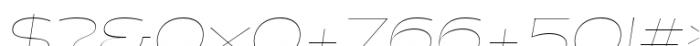 Halogen Flare Hairline Oblique Font OTHER CHARS