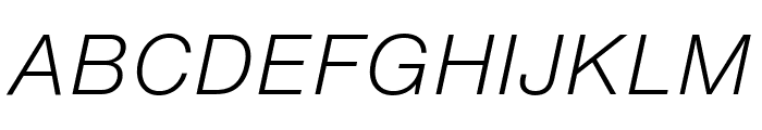 HelveticaNowText-LightItalic Font UPPERCASE