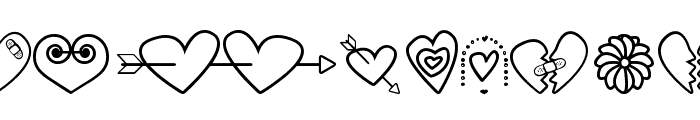 hearts and flowers for valentines Font LOWERCASE