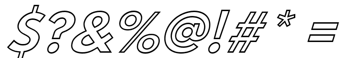 Hussar Bold Italic Outline Font OTHER CHARS