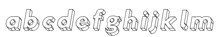 Hussar3D Three Italic Font LOWERCASE