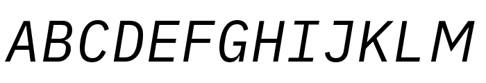 iA Writer Duospace RegularItalic Font UPPERCASE