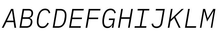 IBM Plex Mono Light Italic Font UPPERCASE