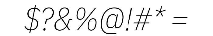 IBM Plex Sans Condensed ExtraLight Italic Font OTHER CHARS