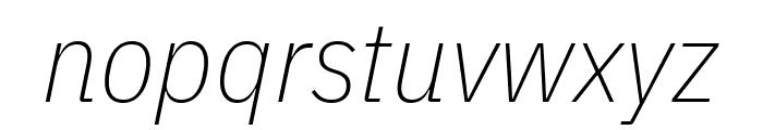 IBM Plex Sans Condensed ExtraLight Italic Font LOWERCASE