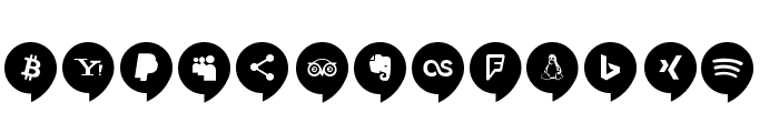 Icons Social Media 14 Font UPPERCASE