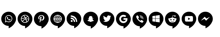 Icons Social Media 14 Font LOWERCASE