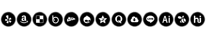 Icons Social Media 15 Font UPPERCASE