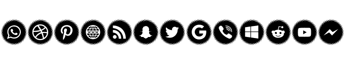 Icons Social Media 15 Font LOWERCASE