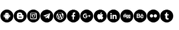 Icons Social Media 9 Font LOWERCASE