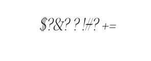 Jerrick-LightItalic.otf Font OTHER CHARS