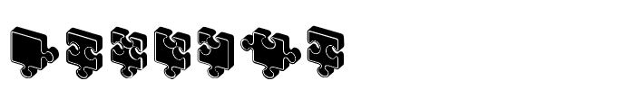 Jigsaw Puzzles 3D Filled Regular Font LOWERCASE