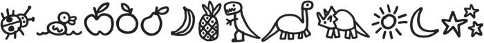 Kidwriting Dingbats Pro Bold otf (700) Font UPPERCASE