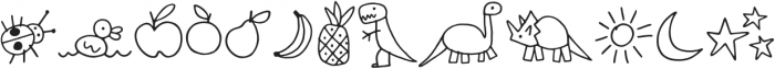 Kidwriting Dingbats Pro ExtraLight otf (200) Font UPPERCASE