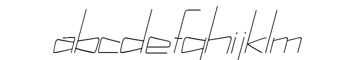Kuppel Ultra-condensed Thin Italic Font LOWERCASE