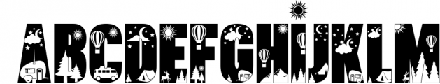 Let's Go Camping | Camping & Hiking Font with Extras Font UPPERCASE