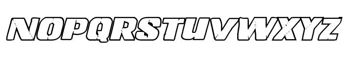 Left Hand Luke Bold Outline Italic Font UPPERCASE