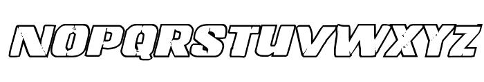 Left Hand Luke Bold Outline Italic Font LOWERCASE