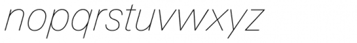 Linotype Univers 131 Basic UltraLight Italic Font LOWERCASE