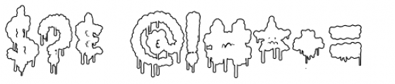 Lumps Drip Outline Font OTHER CHARS