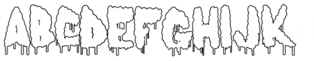 Lumps Drip Outline Font LOWERCASE