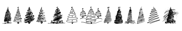 Merry Christmas Trees Font LOWERCASE