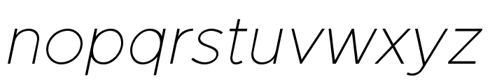 Metropolis ThinItalic Font LOWERCASE