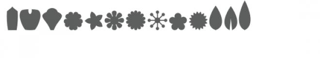 ml design your own flower: petals & centers dingbats Font LOWERCASE