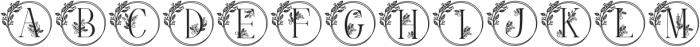 Monogram Handrawn Leaves otf (400) Font LOWERCASE
