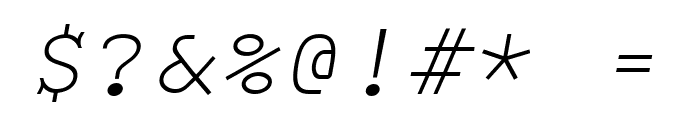 Monospace Oblique Font OTHER CHARS