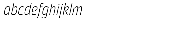 Moveo Sans Condensed Light Italic Font LOWERCASE