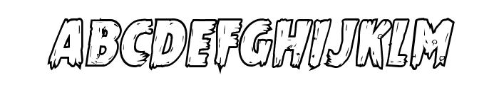 Mrs. Monster Bold Outline Italic Font LOWERCASE