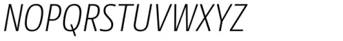 NewsSans Extralight Condensed Italic Font UPPERCASE
