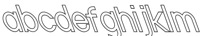 Nordica Classic Light Condensed Opposite Oblique Outline Font LOWERCASE