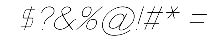 Nordica Classic Ultra Light Extended Oblique Font OTHER CHARS