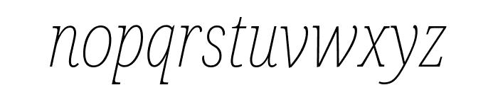 Noto Serif Condensed Thin Italic Font LOWERCASE