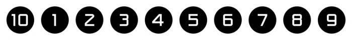 Numbers Style One Circle Negative Font OTHER CHARS