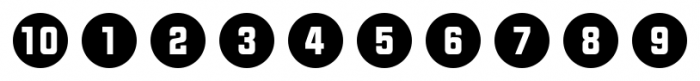 Numbers Style Two Circle Negative Font OTHER CHARS