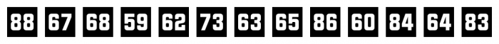 Numbers Style Two Square Negative Font UPPERCASE